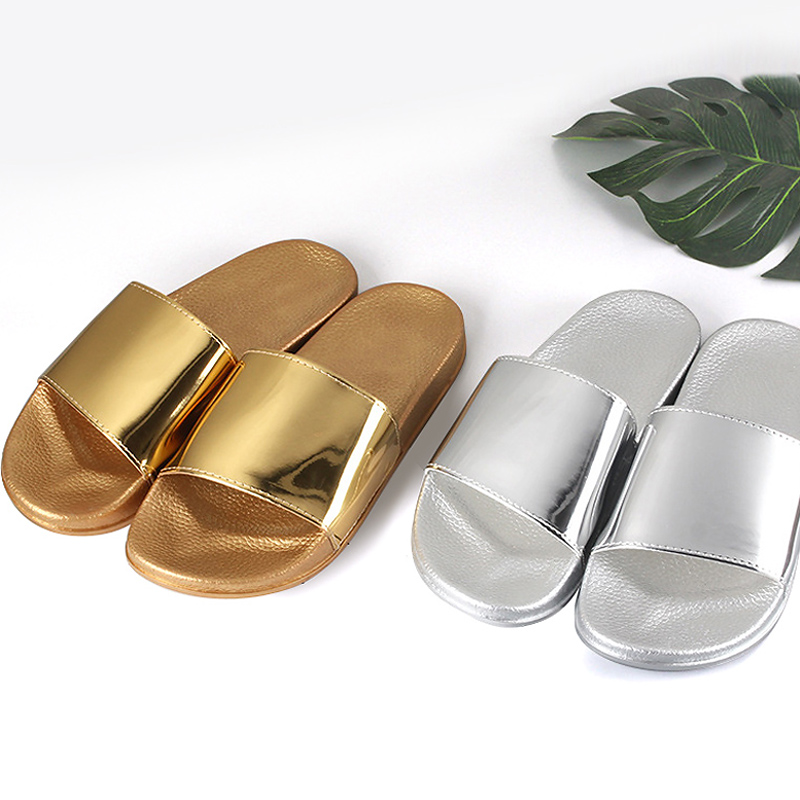 Summer Slippers Bling Women Slides Soft Sole Glitter Indoor & Outdoor Sandals Beach Slides Flip Flops Women Shoes Gold Silver