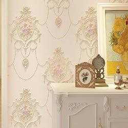 Европейские Большие цветочные 3D обои для стен, настенная бумага из нетканого материала с цветами, рулон бумаги для гостиной, спальни, обои д...