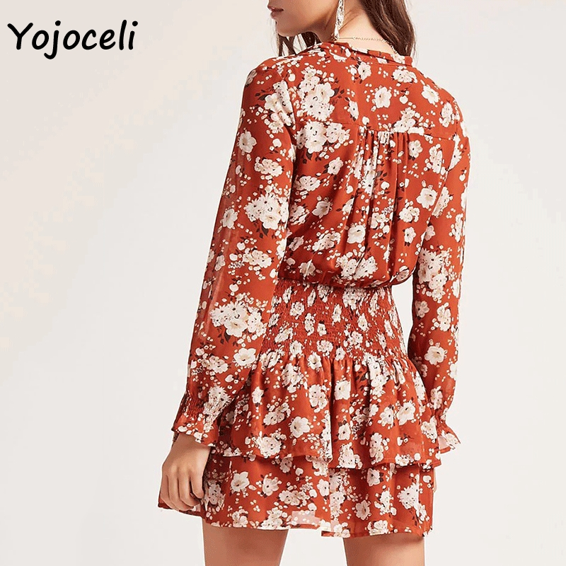 Cuerly 2019 summer boho style floral dress sexy v neck bow mini dresses long sleeve ruffle dress female vestidos in Dresses from Women 39 s Clothing