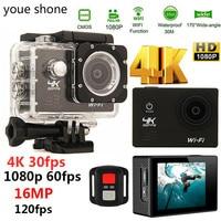 youe shone Sport Action Camera 4K WIFI 2.0LCD 1080P 60fps Outdoor underwater waterproof diving Surfing cycling helmet Cam Camera