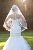 White 1 5 Meters Short Bridal Veil Soft Tulle Lace Edge Fingertip Veil With Comb Fingertip