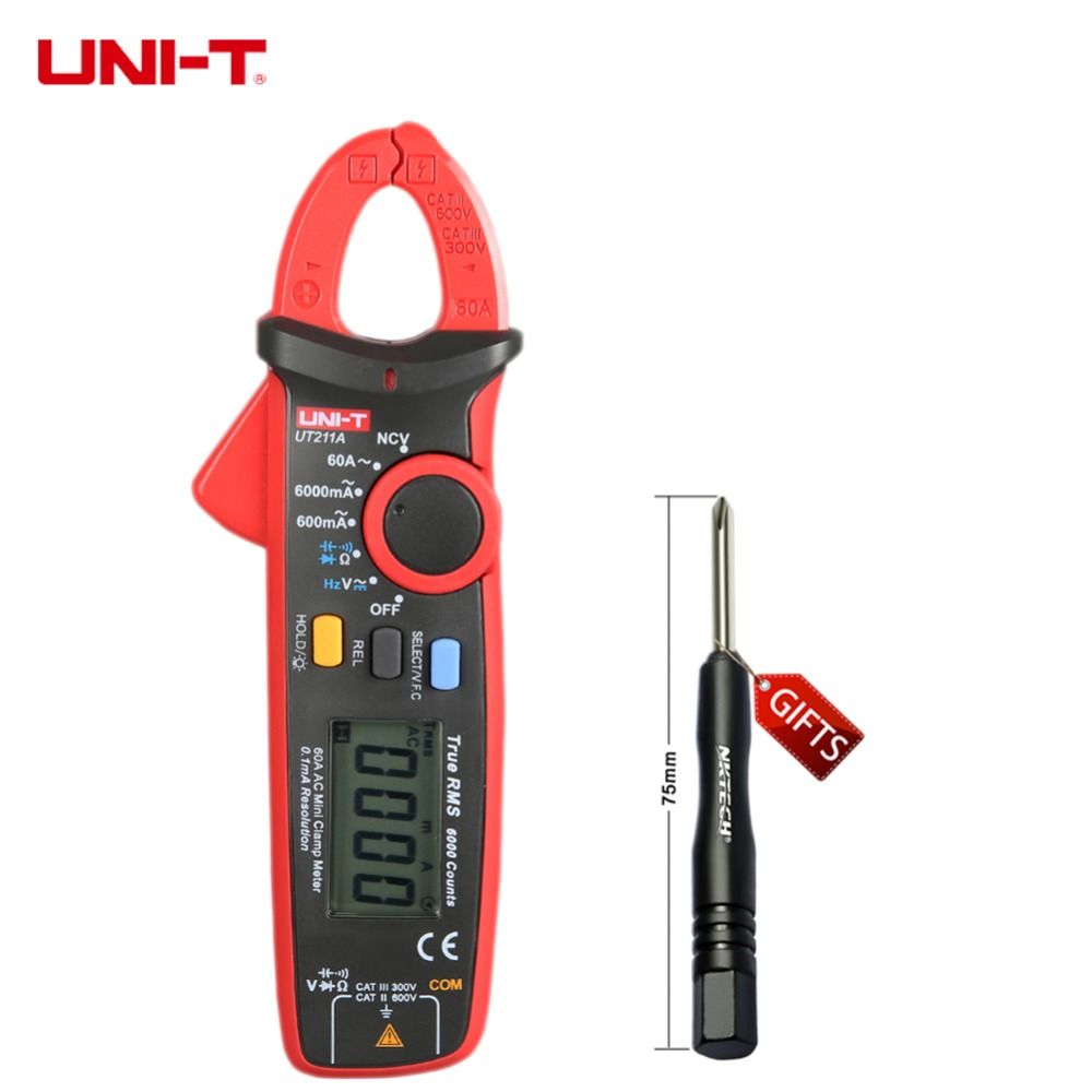 ФОТО UT211A High Resolution UNI-T True RMS Mini Clamp Meters Auto Range V.F.C. NCV Capapictance Tester W/ Relative Mode