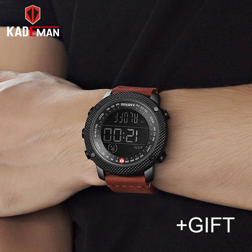 KADEMAN Luxury Brand Mens Sports Watches 30M Waterproof Digital LED Military Watch Men Fashion Casual Step Count Wristwatches