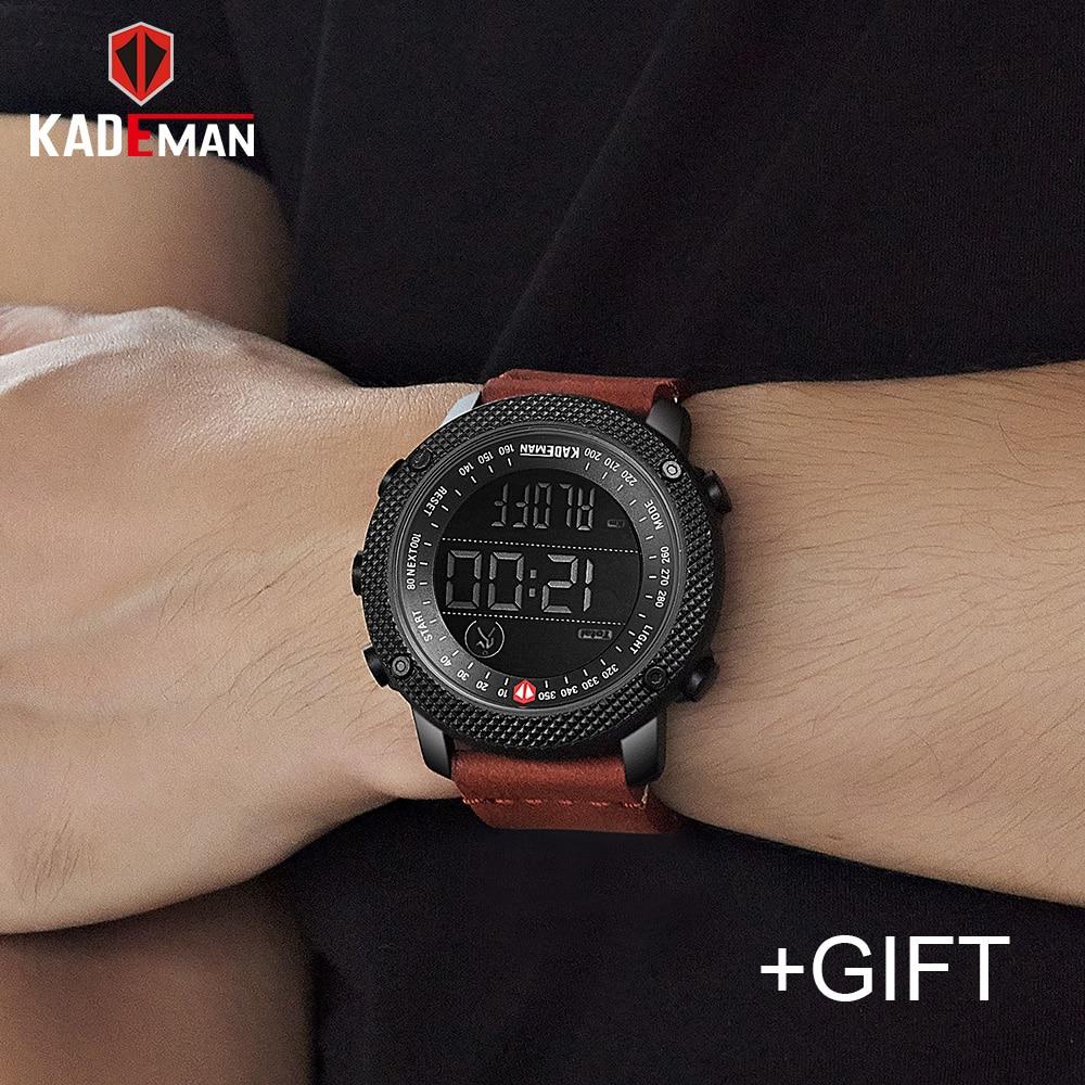KADEMAN de marca de lujo para hombre deportes relojes 30 m impermeable LED Digital Reloj militar de los hombres de moda Casual Conde paso Relojes