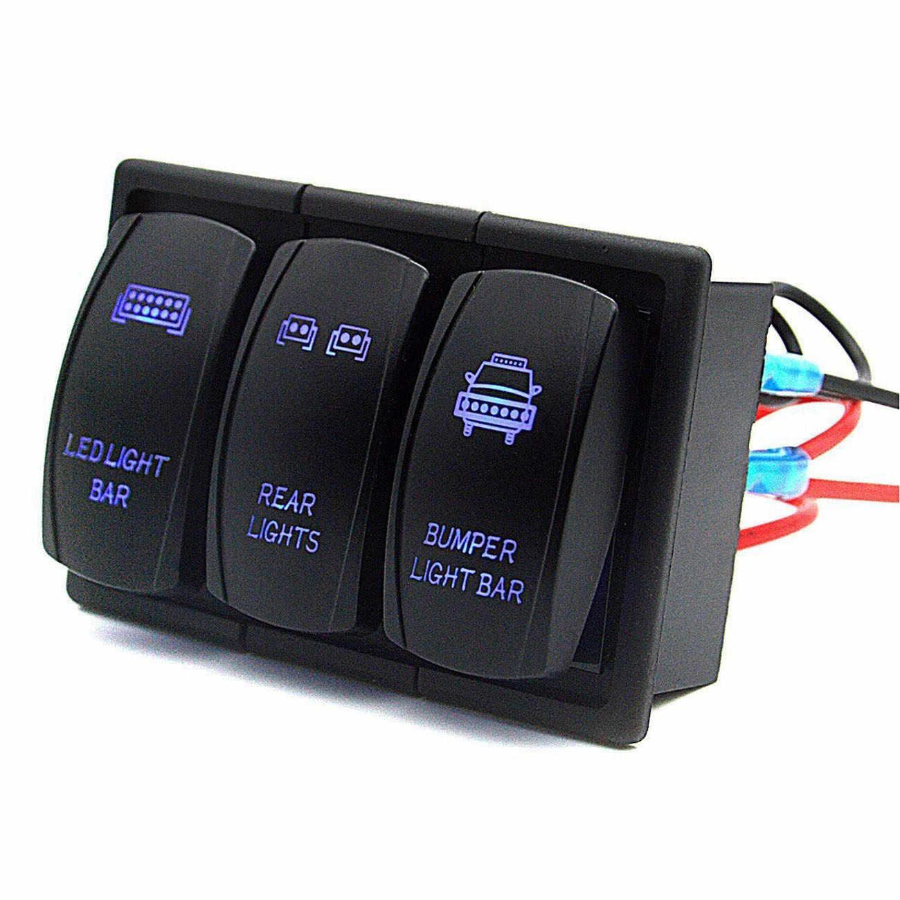 Rocker Switch Panel Led Light Bar Rocker Switch 3 Gang Switch Panel Wiring Harness Pre Wired Rocker Switch Holder Included Wat Aliexpress