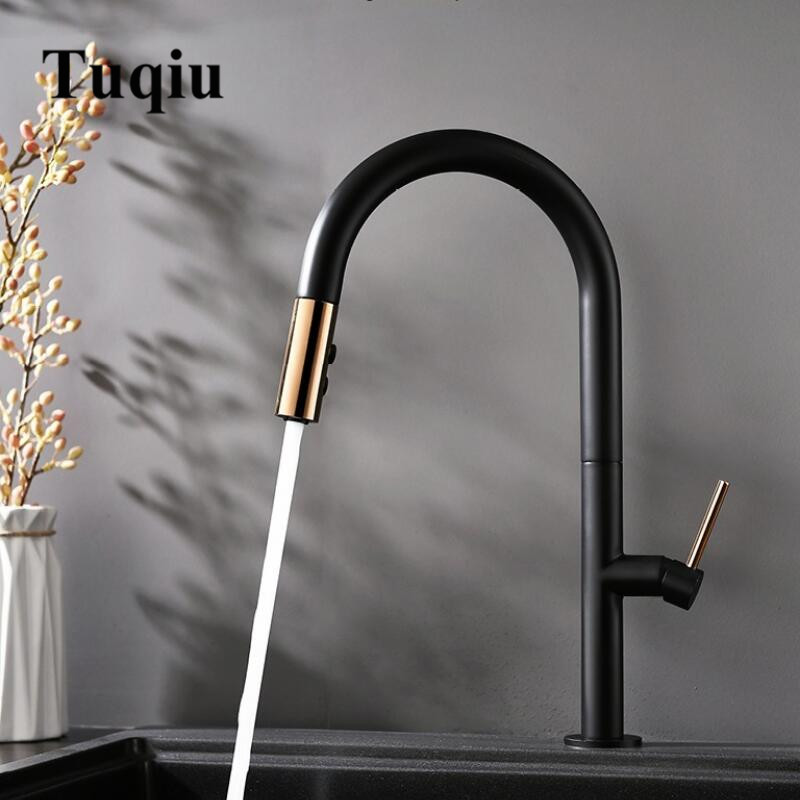Pull Out Kitchen Faucet Newly Arrived Rose Gold And Black Sink Mixer Tap 360 Degree Rotation