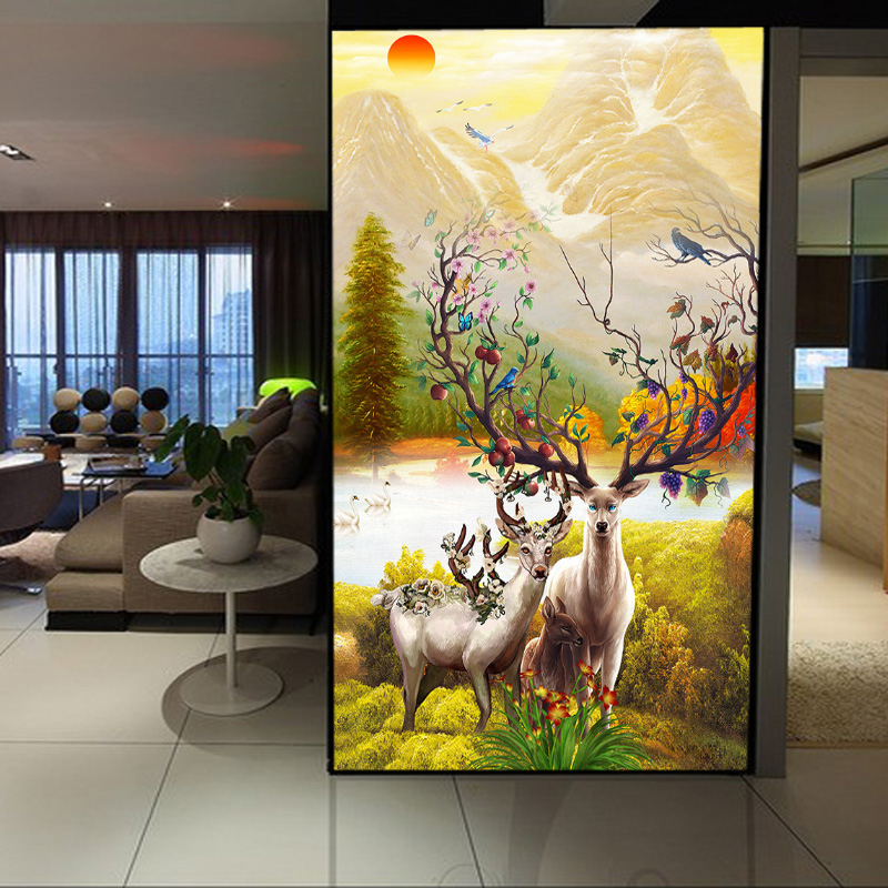 photo wall mural wallpaper for walls 3 d elk painting wallpapers for living room Home decor new arrival fabric wall mrals diamond wallpaper for walls 3 d mural wallpapers wall decor textile for living room diamond wall paper gold blue coffee