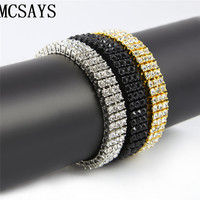 MCSAYS Mens CZ Iced Out Gold Color 3 Row Hip Hop Rhinestone White Black 8 Inches