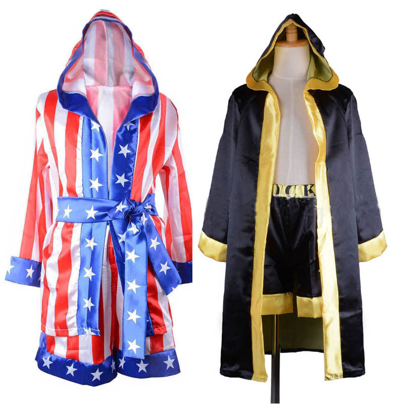 Children boy red black Rocky Balboa boxer costume clothes with shorts Movie Boxing Robe Costume for kid image