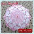 Rosa e Branco Da Flor do vintage de Renda Bordado Algodão Battenburg Parasol Umbrella Casamento Nupcial Do Guarda-chuva Guarda-chuva Decoração