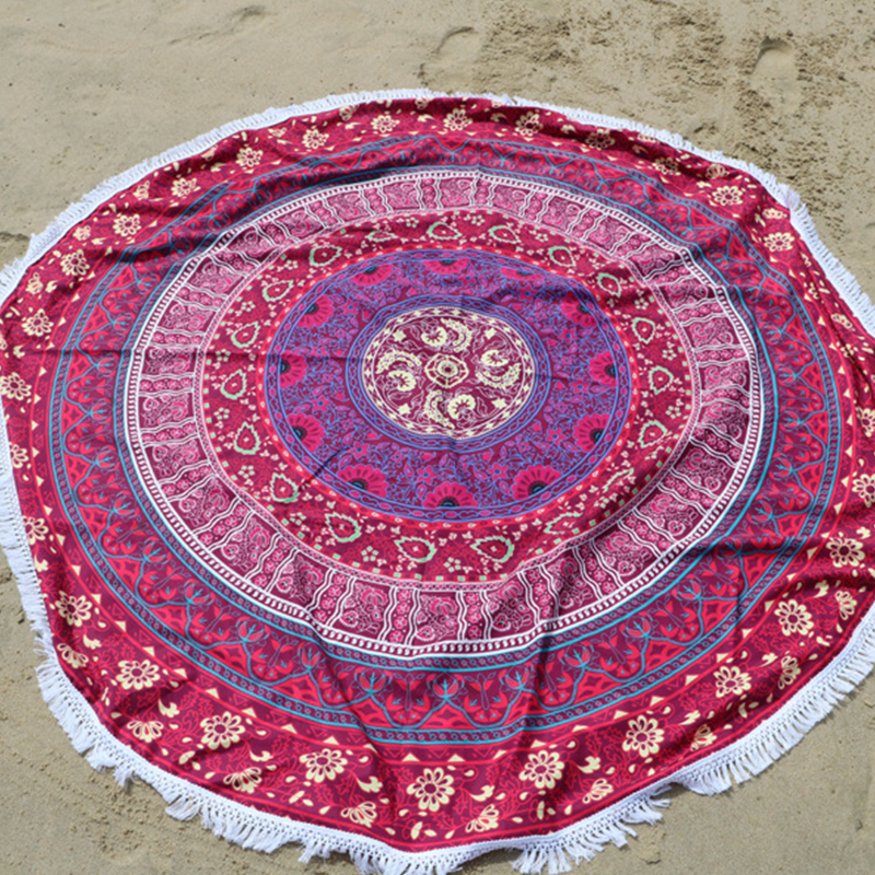 Newly Microfiber 145cm Round BeachTowel With Tassels Bohemia Printed Towels For Adults BFE88