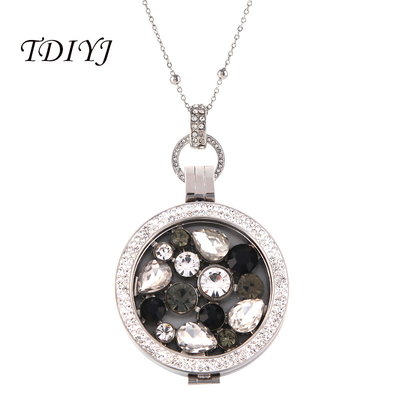 Interchangeable Disc Necklace: TDIYJ New Arrival My Coin Interchangeable Black Crystal