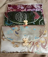 10pcs / lot Mix colors Rectangle Embroidery Brocade Silk Coin Bags,Purse,Jewelry Bags wallet Random Color 8''