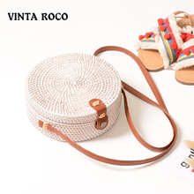 Vintaroco Bohemia Handwoven Bali White Round Rattan Crossbody Bag For Women Straw Beach Shoulder Bags With Pu Leather Straps