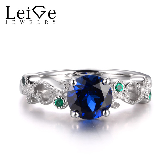 88bc6d84af LeiGe Jewelry Blue Sapphire Promise Rings September Birthstone Round Cut Blue  Stone Real 925 Sterling Silver Wedding Gifts
