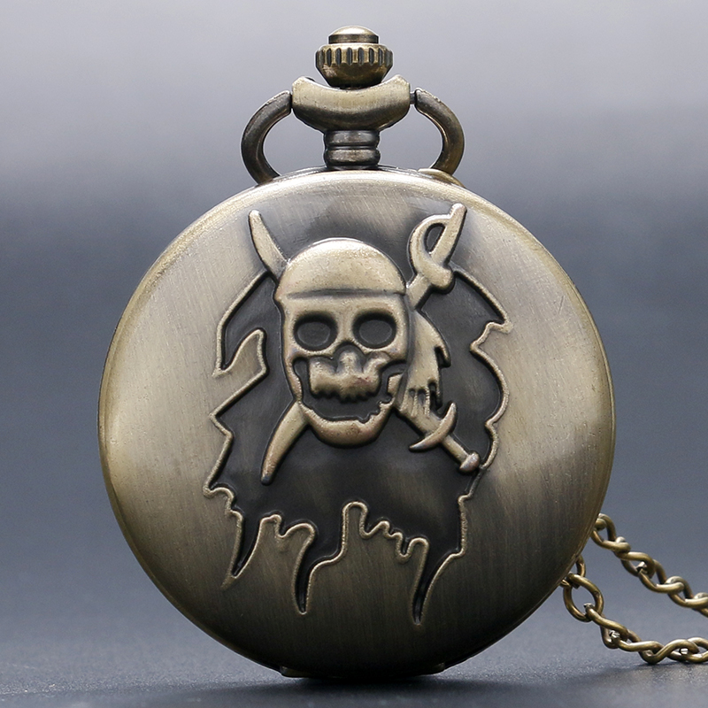 Retro Bronze Cool Awesome Pirate Skull Cross Sword Quartz Pocket Watch Boys Men Women Necklace Pendant With Chain Birthday Gift antique smooth black mini toy pocket watch men women retro pendant necklace quartz watch mini gift chain reloj de bolsillo