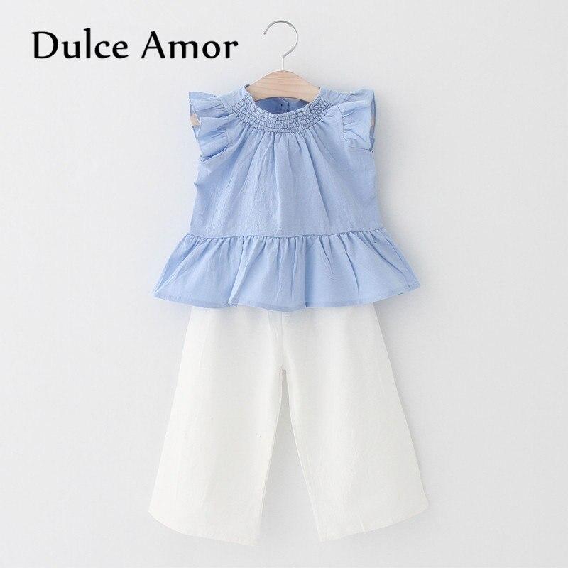 26a183d7ba6 Dulce Amor Комплекты одежды для девочек 2018 Лето Новая детская одежда  Жилет-безрукавка  блузка