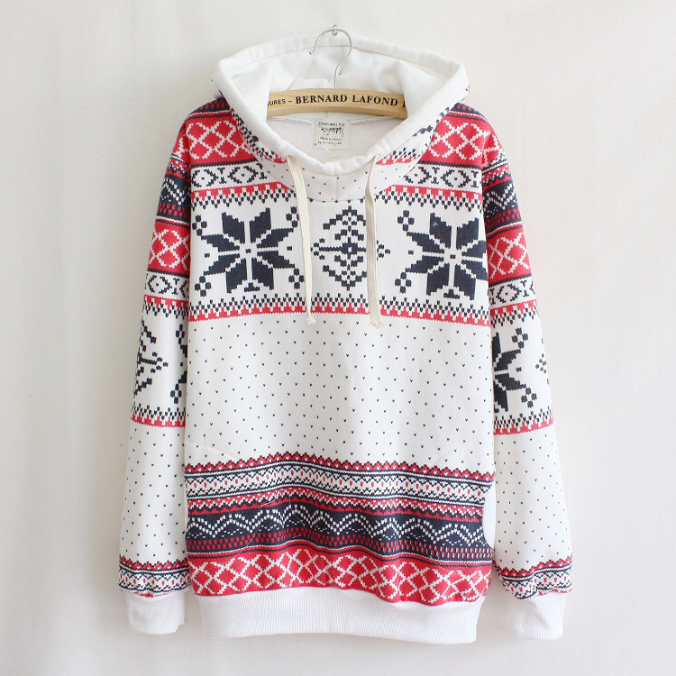 Spring Winter Women Print Fleece Christmas Xmas Snowflake Jumper Top