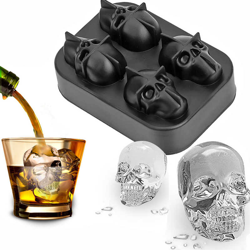 Ice Cube Tray 3D Skull Silicone Mold 4-Cavity DIY Ice Maker Household Use Cool Whiskey Wine Kitchen Tools Pudding Ice Cream Mold