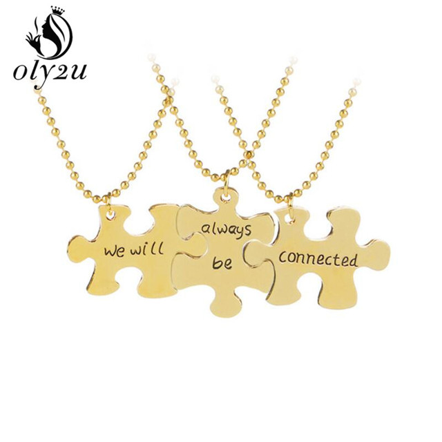 Oly2u we will always be connected 3 piece puzzle necklace long chain oly2u we will always be connected 3 piece puzzle necklace long chain jigsaw puzzle piece necklace aloadofball Gallery