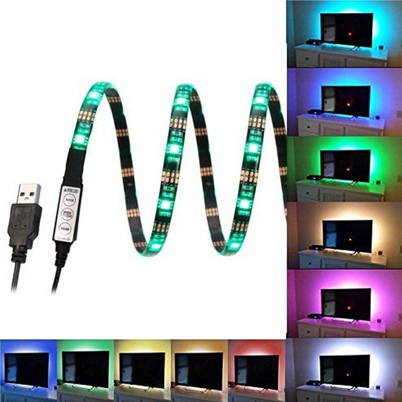 v a usb lmpara de iluminacin ambiente de cine en casa multi color rgb tira
