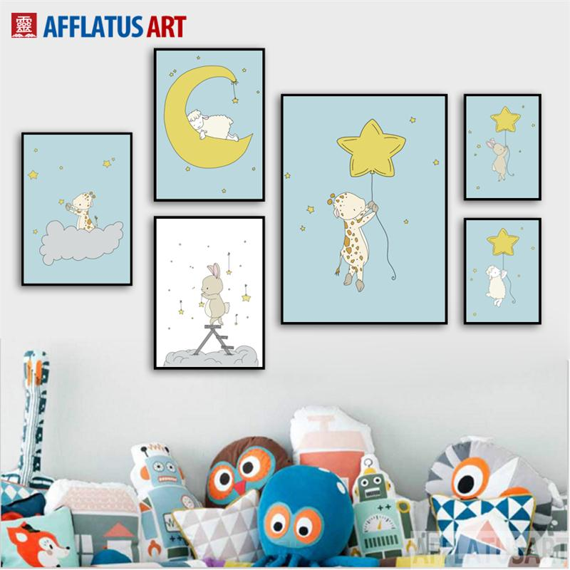 Giraffe Sheep Rabbit Crescent Star Wall Art Canvas Painting Nordic Posters And Prints Cartoon Pictures For Kids Room Decor