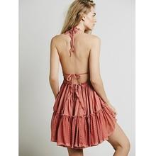 Dress Women 2018 Summer Sexy V Neck Backless Lace Beach Dress Holiday Boho Chic Casual Short Sleeveless Bandage Party Dresses