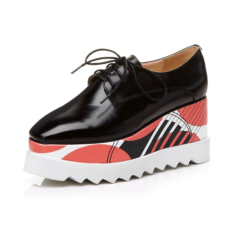 Fashion Genuine Leather Woman Square Toe Lace Up Wedges Mixed Colors Increased Oxford Shoes Pumps Handmade Causal Shoes L39 plus size 34 42 new genuine leather women shoes lace up totem flats square toe handmade creepers oxford shoes woman casual shoes