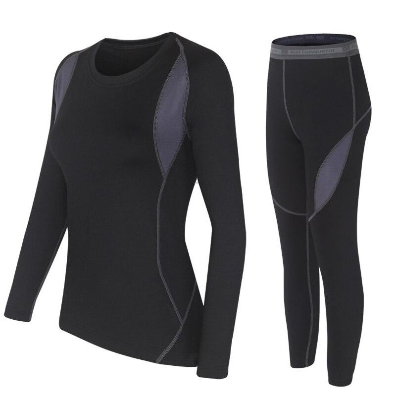 Conjunto de roupas de inverno térmica duas peças feminino quente-seco tecnologia superfície thermo conjuntos de calças e topos