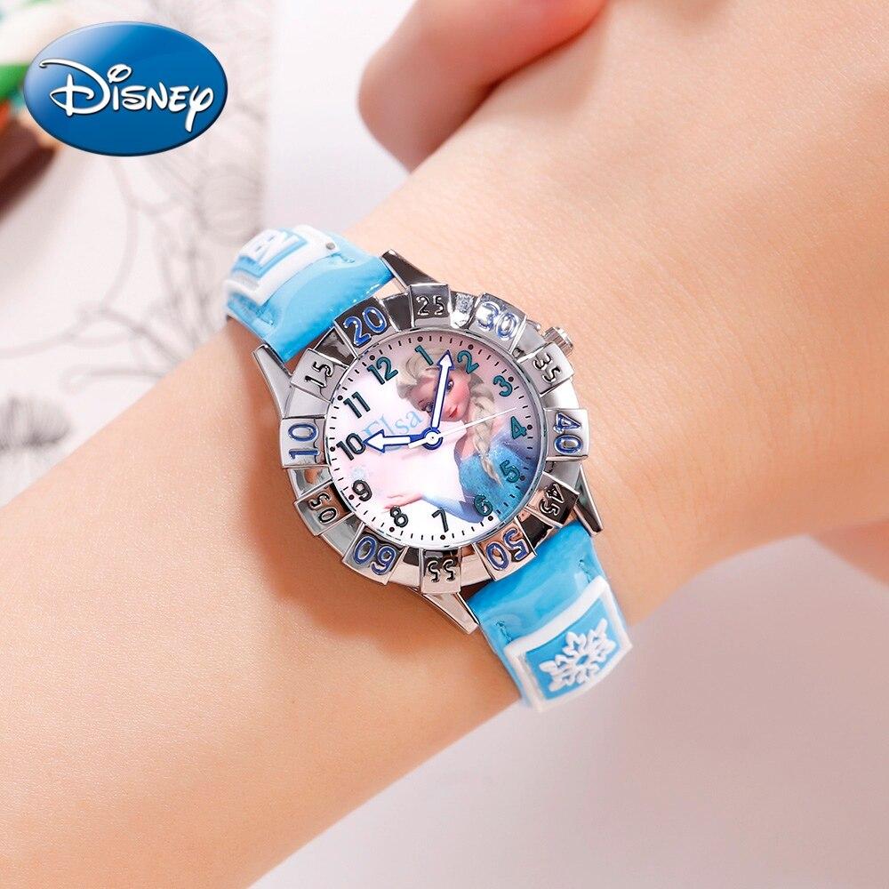 Disney Princess Frozen Sofia Blue Pink Cutie Girls Quartz Waterproof Wrist Watches Children Cartoon Lovely Student Watch Hour
