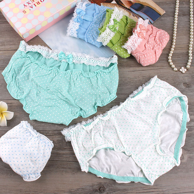 00a3db7e6adb Comfortable cotton women panties lady briefs waist lace knickers dot Polka  Dot Bikini flounce sweet cuecas