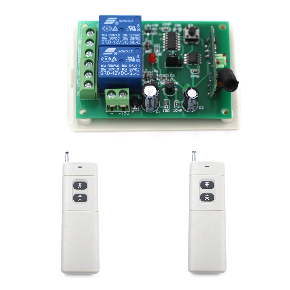 DC 9v/12v/24v RF Wireless Remote Control Switch System 2CH Relay Receiver Long Range Transmitter Learning Code Toggle Momentary remote control switches dc 12v 2ch receiver long range remote control transmitter 50 1000m 315 433 rx tx 2ch relay learning code