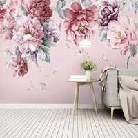 Papel pintado personalizado De cualquier tamaño, Papel tapiz moderno con flores pastorales, fotografía pintada a mano, Papel tapiz para sala De estar, casa De bodas, Papel De pared