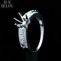 6MM Round Cut Pave 0 3ct Natural Fashion Ring Solid 14k White Gold Engagement Wedding Semi