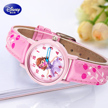 Genuine Disney Minnie mouse children lovely crystal rhinestone cartoon watch girls fashion casual Kids leather watches Hapiness