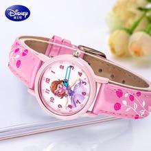 Genuino Disney encantadora crystal rhinestone reloj de la historieta de Minnie mouse para niños niñas moda casual Niños de cuero relojes Felicidad