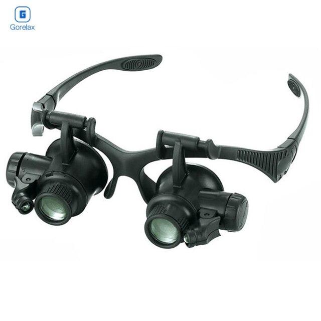 59b2b7edd Óculos Lupa, 10X 15X 20X 25X Óculos Lupa com Lâmpada Led e Quatro Lentes,