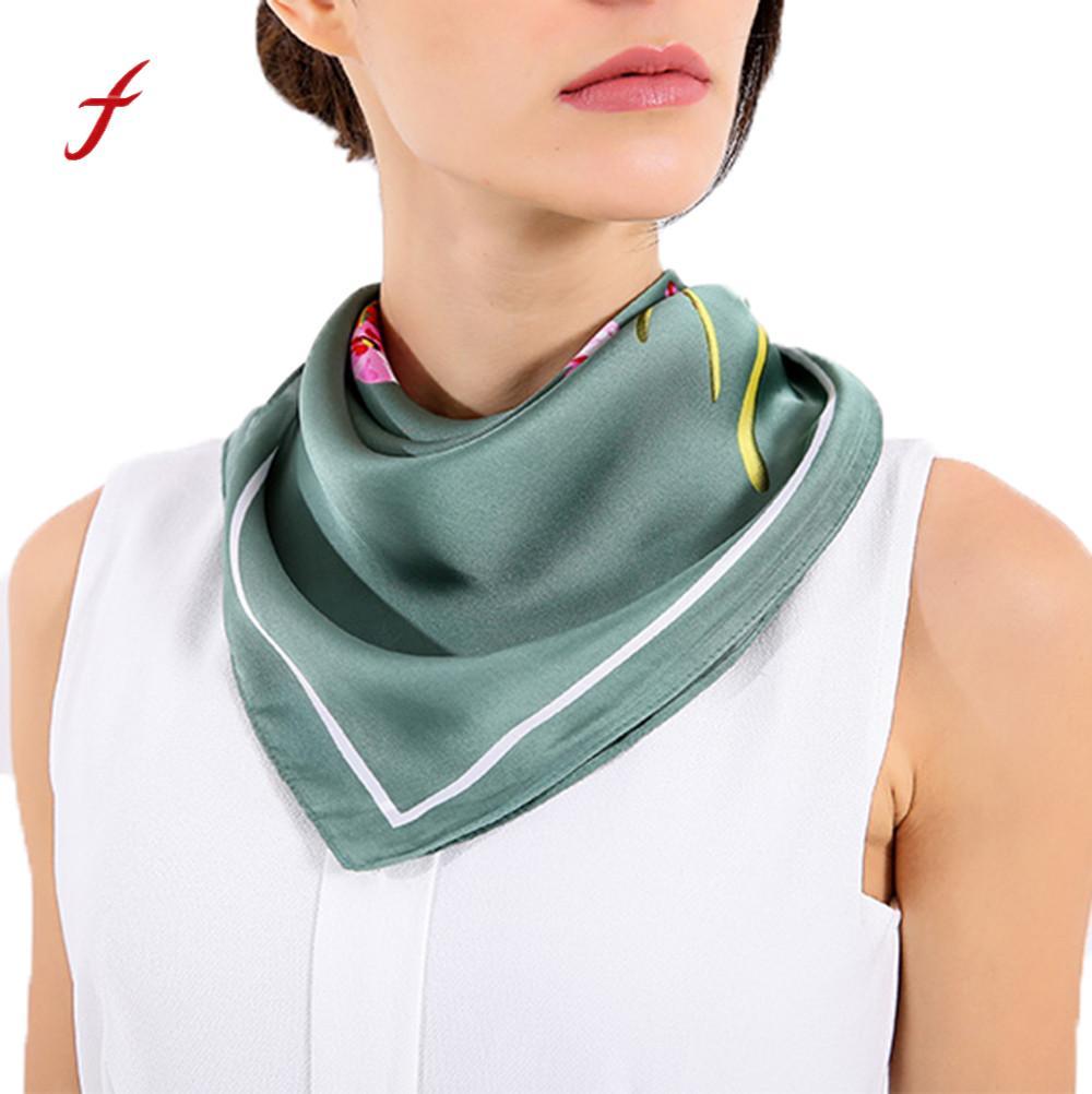 FEITONG Female scarf Women Fashion Printed Pattern Square Scarf Head Wrap Kerchief Neck Shawl Spring O ring scarf-collar Scarve