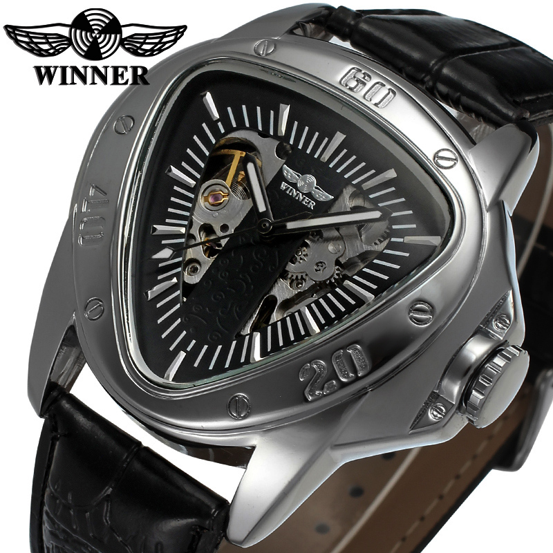WINNER Unique Design Automatic Watches Men Triangle Mamba Snake Dial Mechanical Watch Cool Fashion Luxury Brand Male Wristwatch winner men fashion black auto mechanical watch leather strap skeleton dial square shape round case unique design cool wristwatch