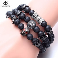 0e26621d6ffb RoyalBeier New Fashion Natural Black Volcanic Stone With Rhinestone Jewelry  Charm Bracelet Men Women Crown Skull