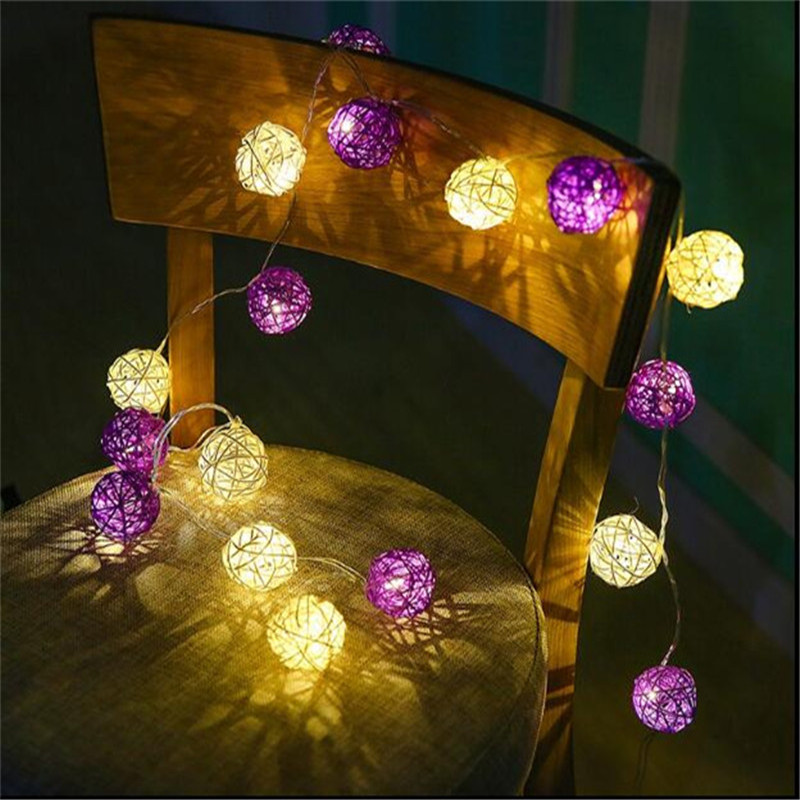4M 20Led Warm White Fairy Light White Purple Rattan Ball LED String Light for Holiday Home Party Christmas Wedding Decoration