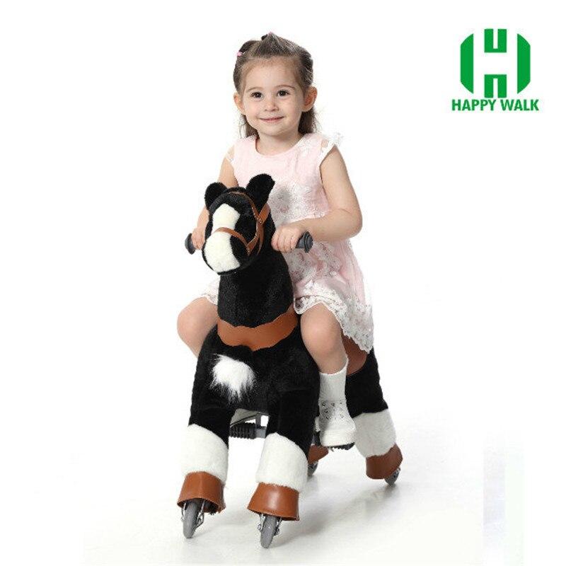 Плюшевые ходячие механические лошади игрушки для детей 3 7 лет, размер S, детские игрушки для верховой езды, игрушки на колесах, для езды на ло... - 3