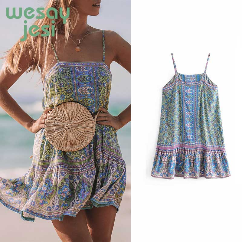summer dress 2019 Low Back Sexy Women Dresses Boho Floral Print Dress 2019 Summer Boho feminine chic Beach Dress in Dresses from Women 39 s Clothing