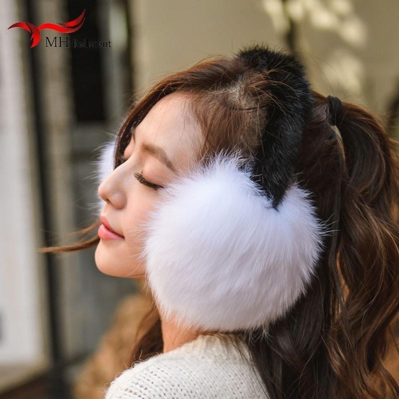Winter New Fashion Comfortable Warm Leather Fox Fur Grass Earmuffs Water Scoop Bracket Ear Bag Furry Ear Warm Hair Earmuffs V2