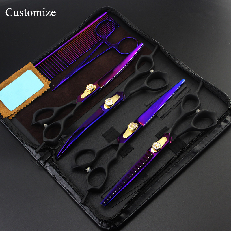 Customize 6 kit Japan 440c 7 inch purple Pet dog grooming hair scissors thinning shears pet cutting barber hairdressing scissors purple dragon 7 inch pink black thinning pet shears dog hair scissors clipper for dogs professional grooming tool for dog cat