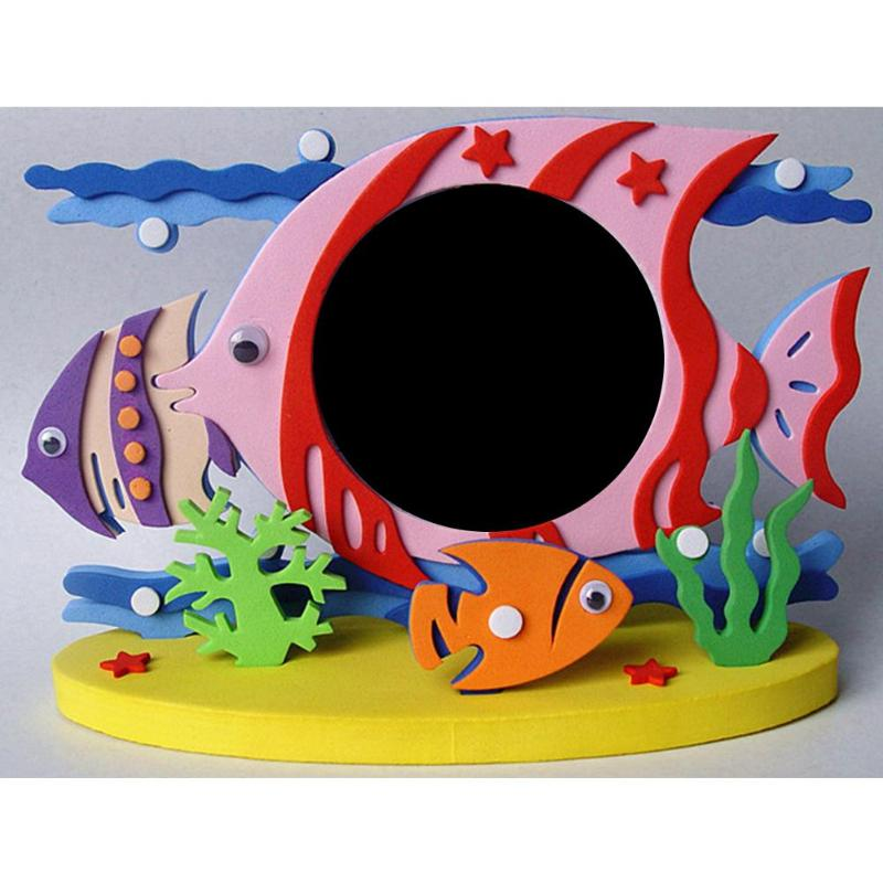 Foam Cartoon Photo Frame DIY 3D Arts Craft Stickers Photo Frame Handmade Block Toy Education Learning Birthday Gift For Children