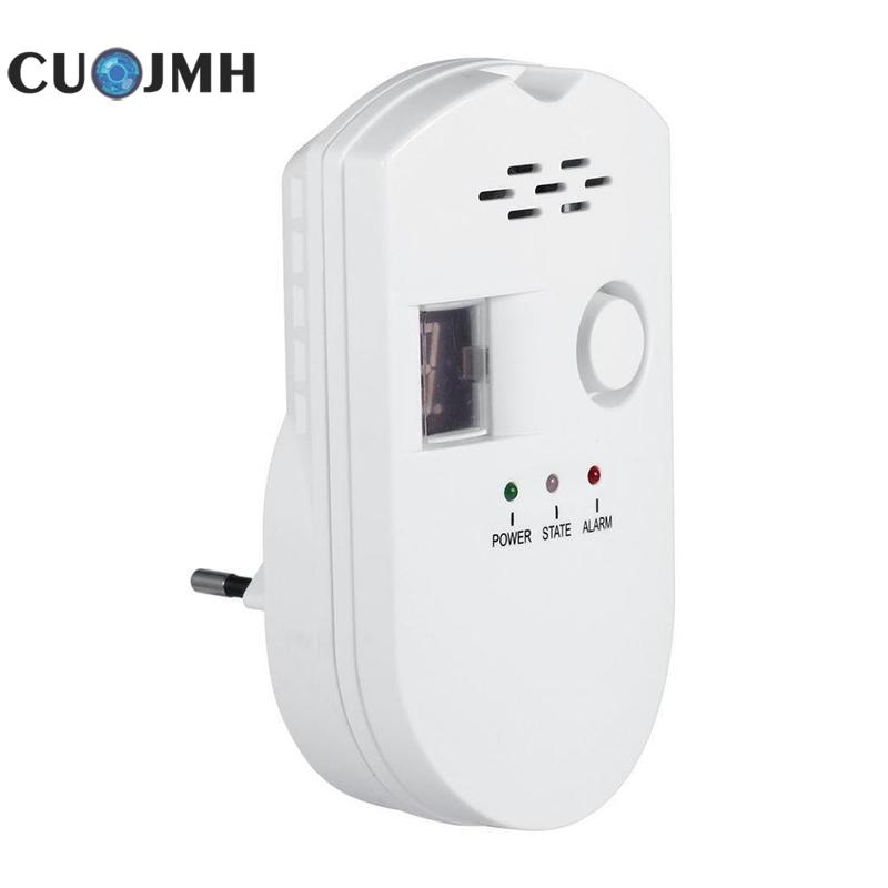 EU Home Gas Detector Kitchen Security Combustible Gas Detector LCD LPG LNG Coal Natural Gas Leak Alarm Sensor Warning Detector new standalone combustible gas alarm lpg lng coal natural gas leak detector sensor for home security safety free shipping