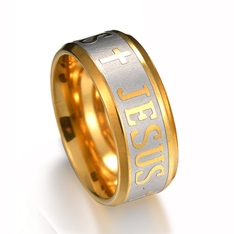 Religious Ring Jesus and Cross Engraved on Yellow Stainless Steel Ring