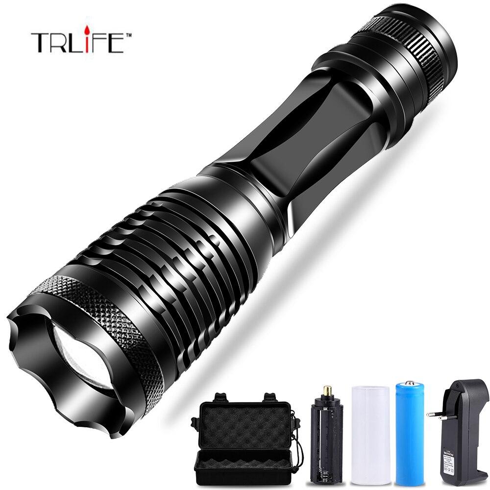 T6/L2/XPL V6 LED Taktische Taschenlampe 10000 Lumen Lanterna Einstellbare led Taschenlampe Zoomable-led Taschenlampe + Ladegerät + 1*18650 batterie