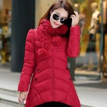 Женская хлопка-ватник 2016 зима средней длины вниз хлопка плюс размер куртки женские тонкие дамы куртки и пальто